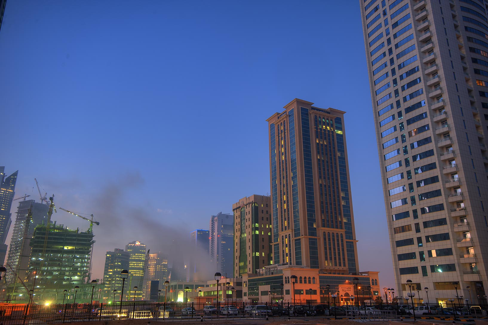 Area of Dunes Hotel in West Bay at morning. Doha, Qatar