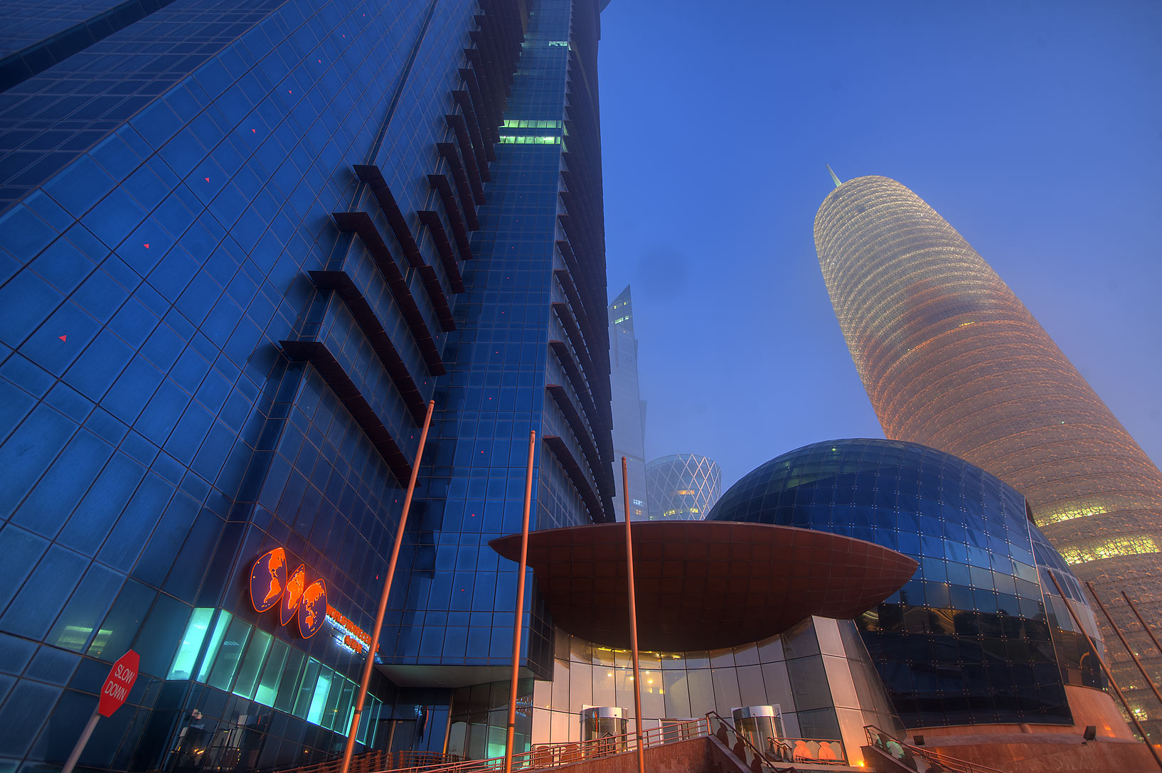 Lobby of WTC Tower in West Bay at morning. Doha, Qatar