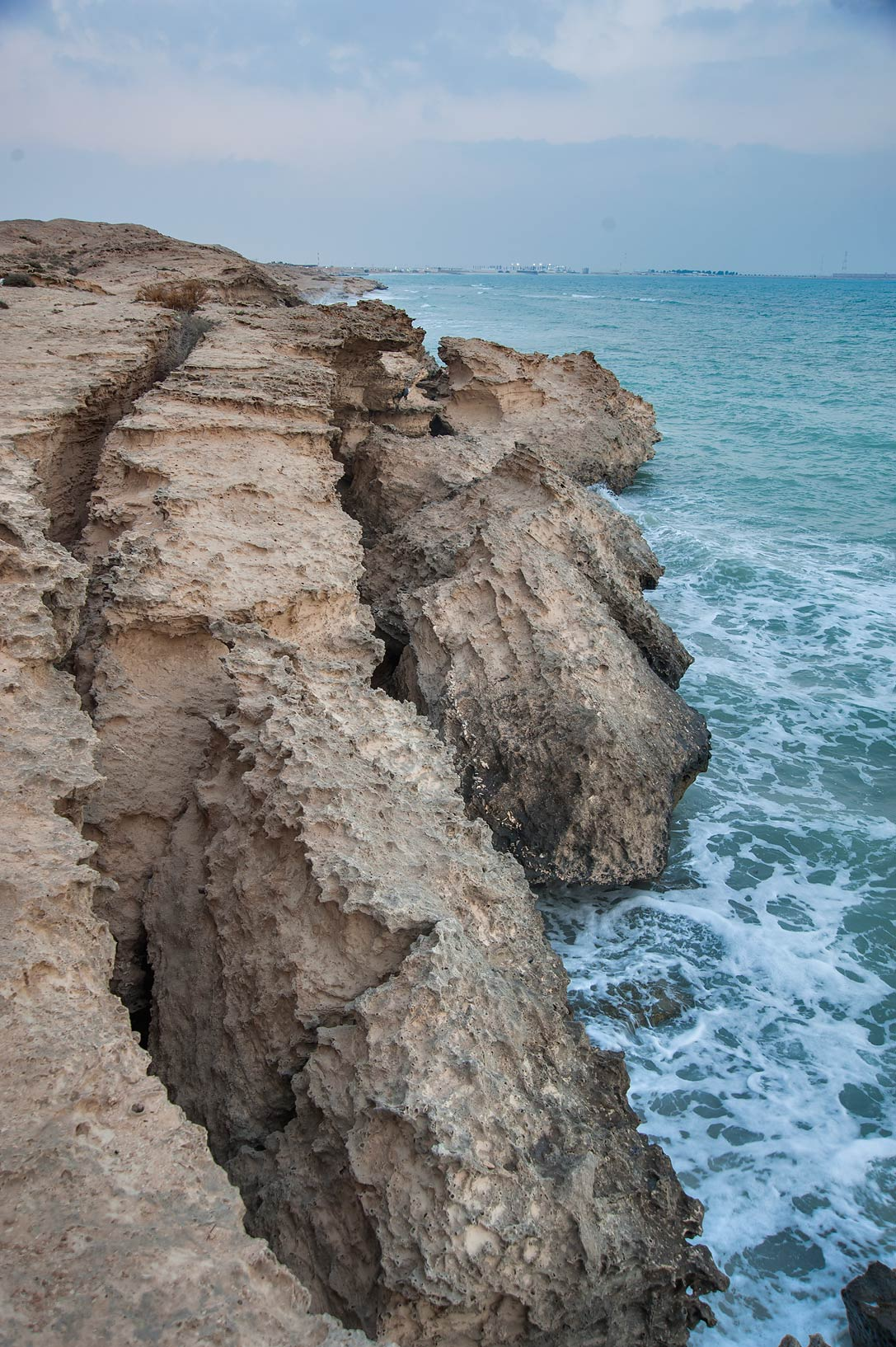 Beach cliffs of rocky ridge of Jebel Fuwairit. Northern Qatar