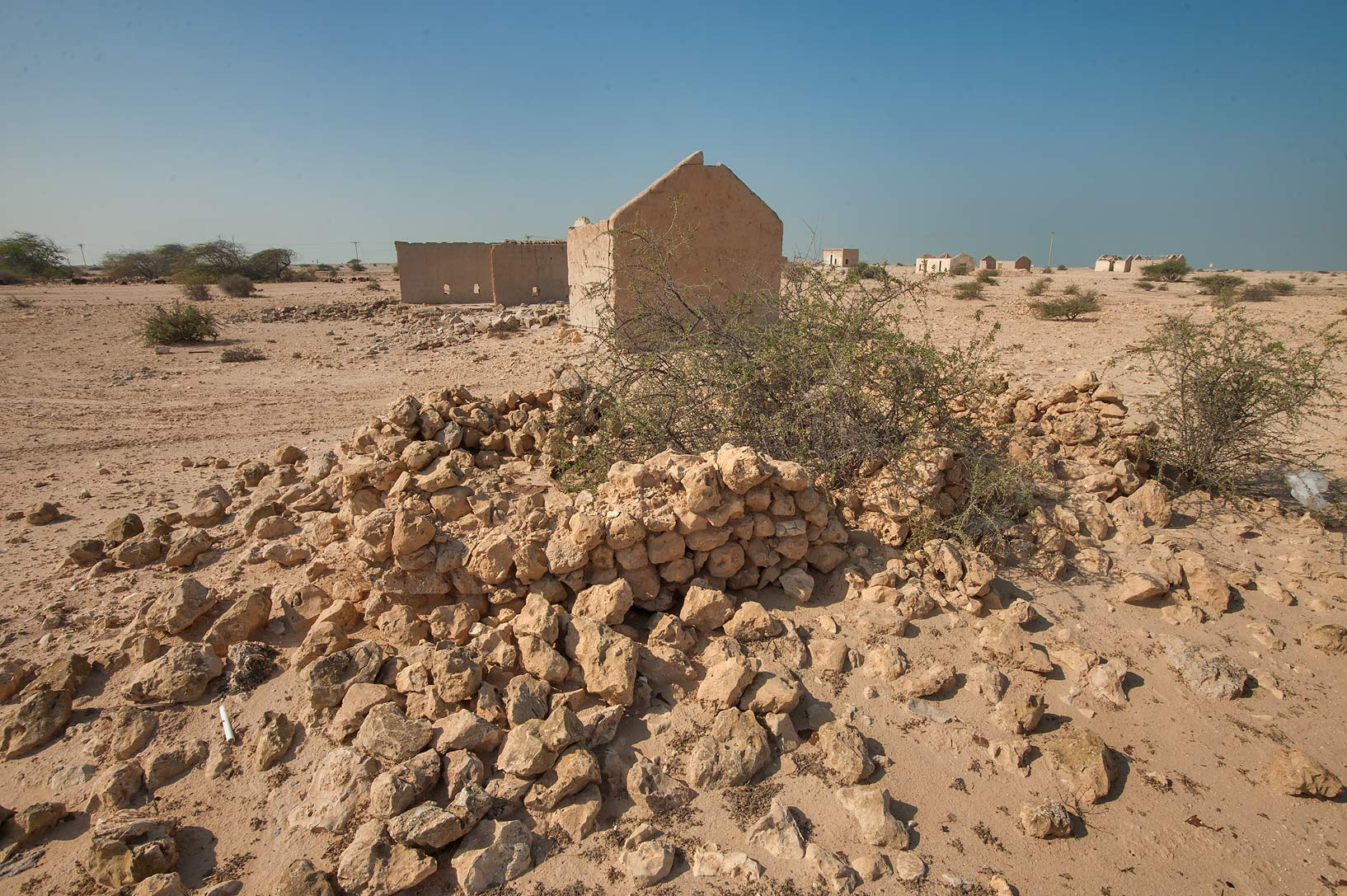 Stone ruins of Homes of Abdullah bin Nasser bin...Rd. north from Zubara. Northern Qatar