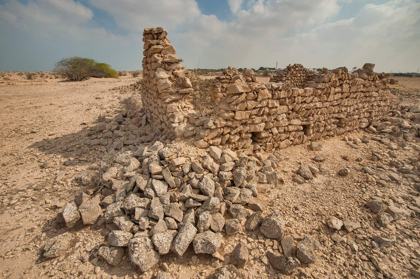 Ruins of a village at Sidriyat Al Kheesa, north from Madinat Al Kaaban. Northern Qatar