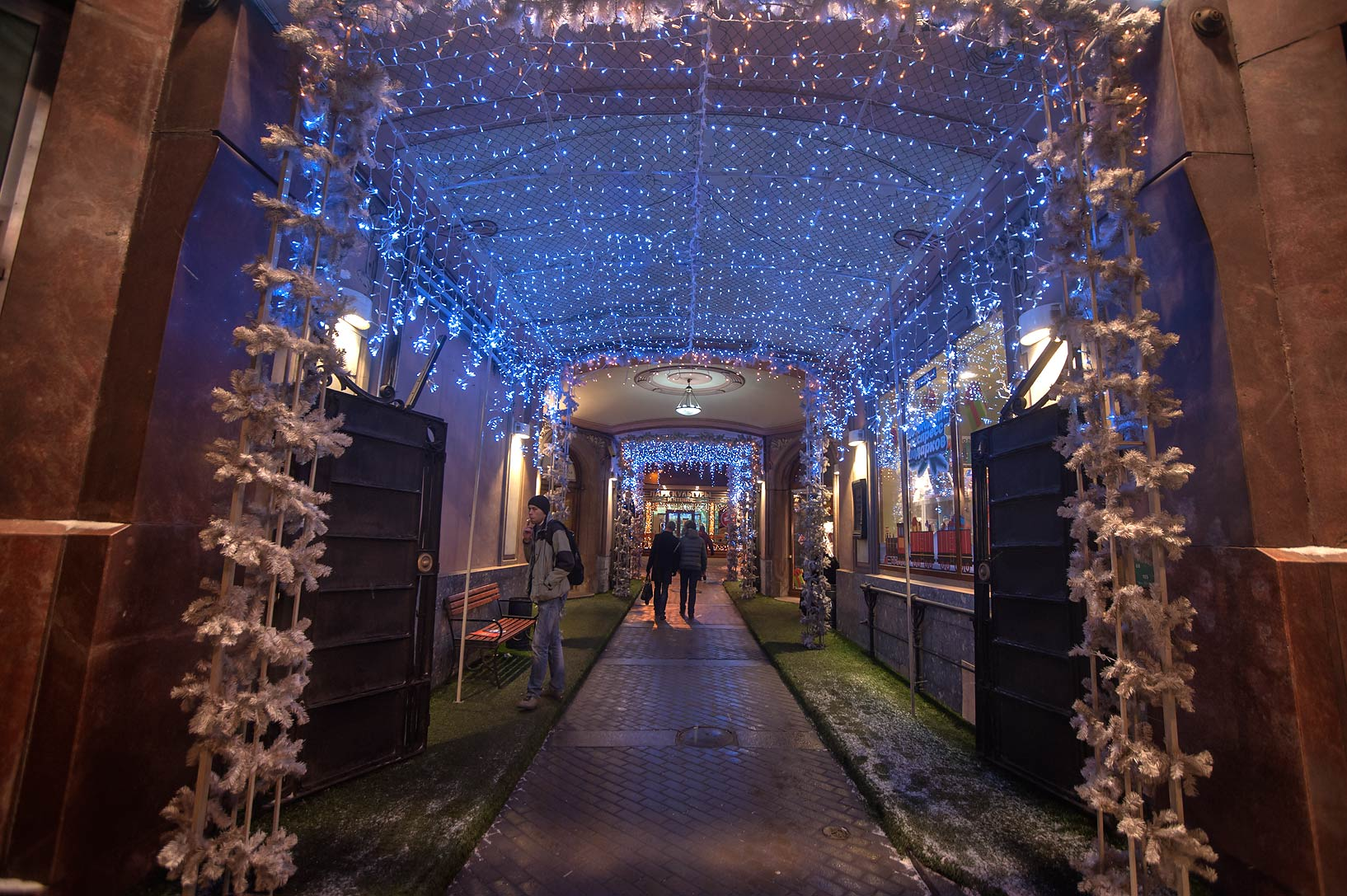 Illuminated passage at Nevsky Prospect. St.Petersburg, Russia