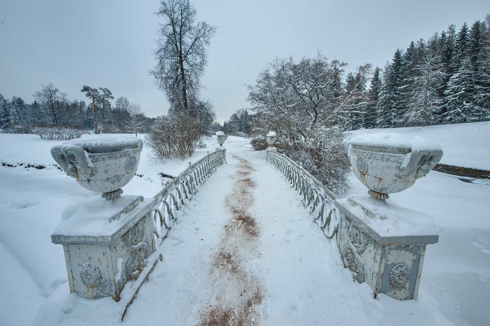 Bridge of Eleninskaya Alley in Pavlovsk Park. Pavlovsk, a suburb of St.Petersburg, Russia