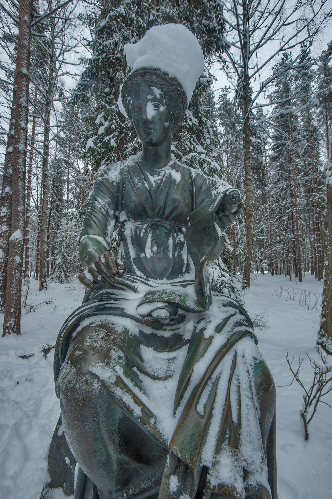 Sculpture of a muse on Twelve Paths (Dvenadtsat...a suburb of St.Petersburg, Russia