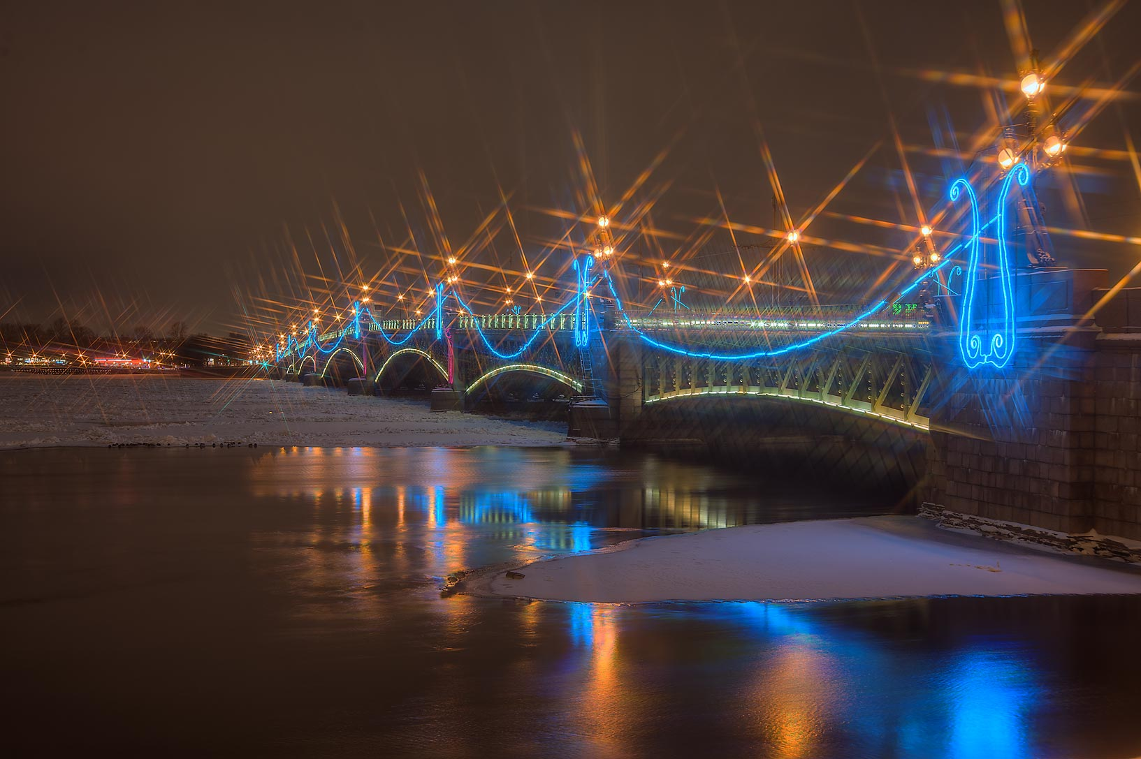 Troitsky Bridge from Dvortsovaya Embankment. St.Petersburg, Russia