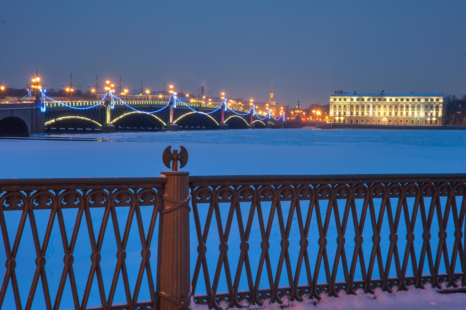 Troitsky Bridge from Ioannovsky Bridge. St.Petersburg, Russia