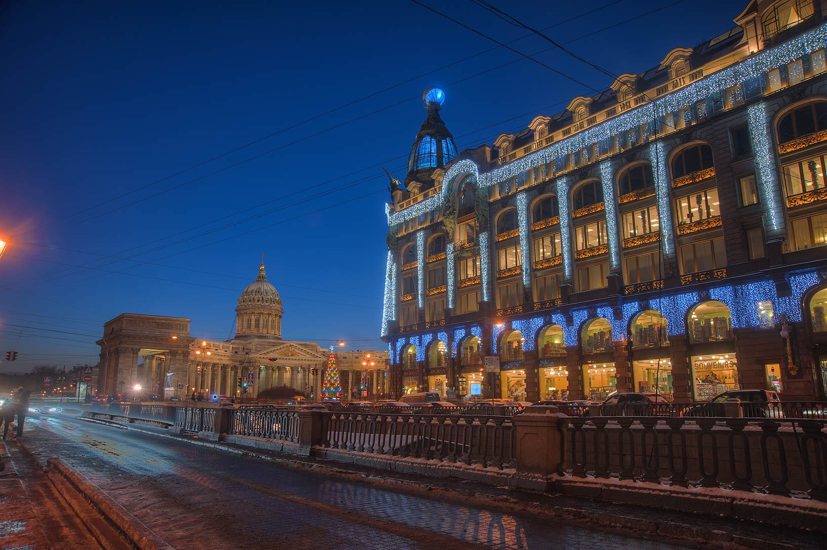 Singer House from Griboedov Canal. St.Petersburg, Russia