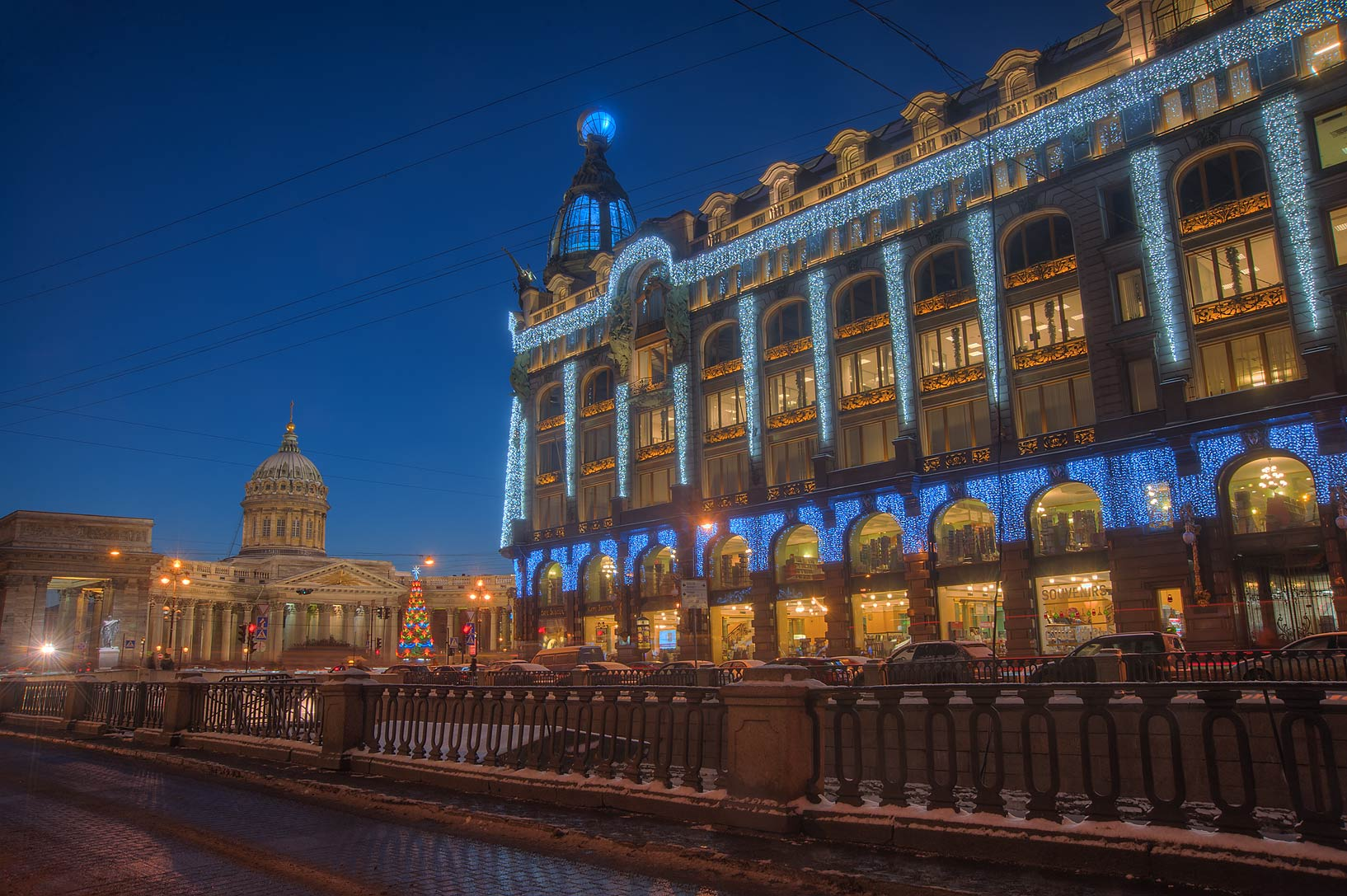 Kazansky Cathedral and Singer House from Griboedov Canal. St.Petersburg, Russia