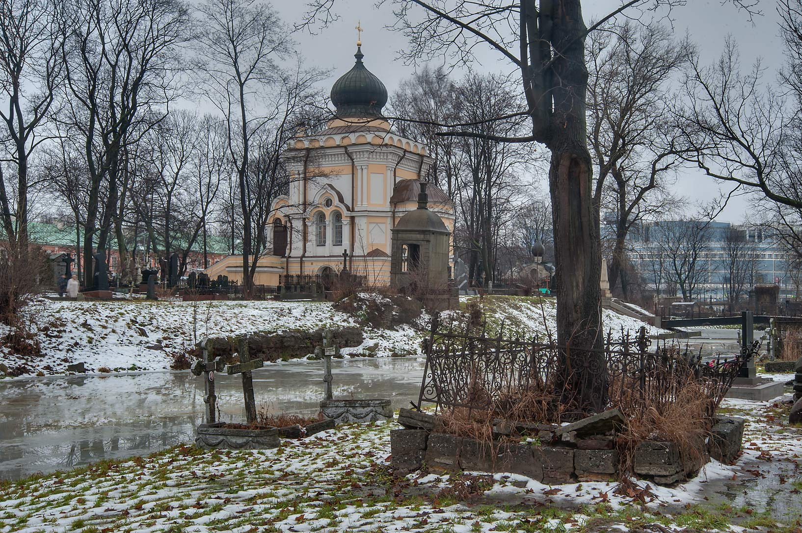 Chapel of Nikolskoe Cemetery of Alexander Nevsky Lavra. St.Petersburg, Russia