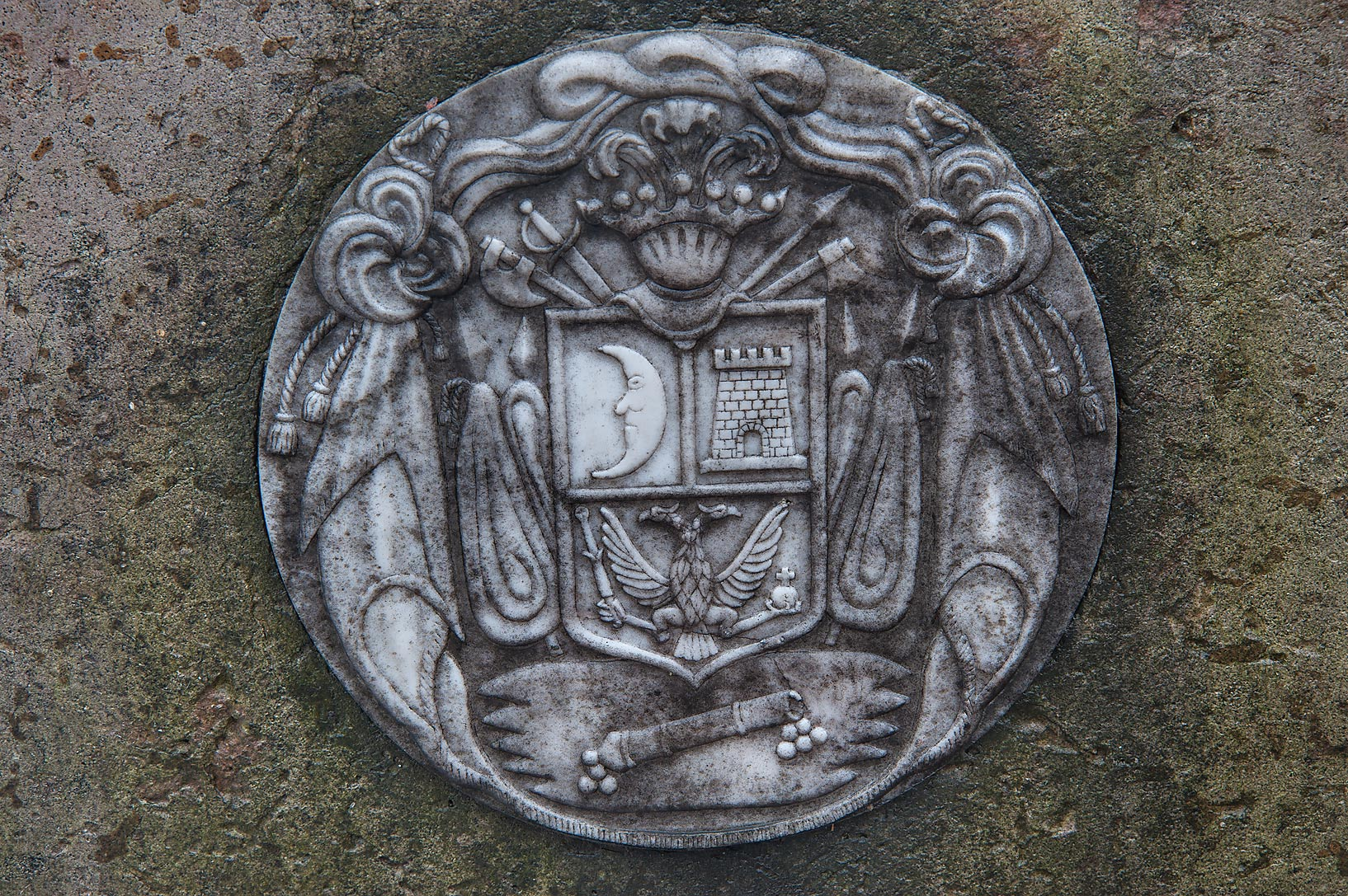 Coat of arms in Necropolis of Alexander Nevsky...Cemetery). St.Petersburg, Russia