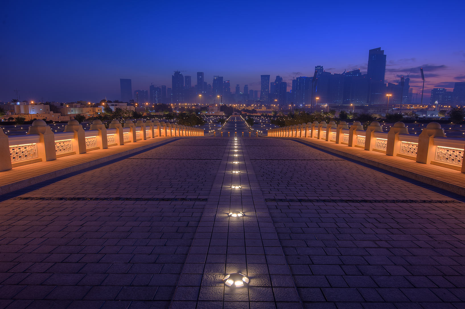 Grand entrance of State Mosque (Sheikh Muhammad...Wahhab Mosque) at morning. Doha, Qatar
