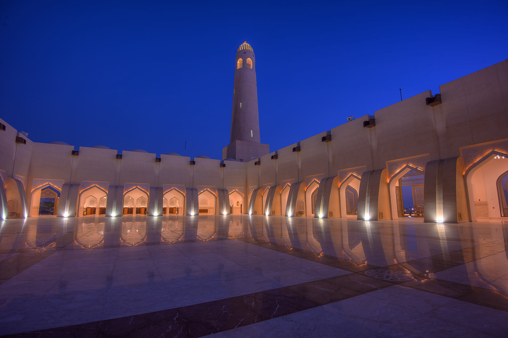 Stone courtyard of State Mosque (Sheikh Muhammad...Wahhab Mosque) at morning. Doha, Qatar