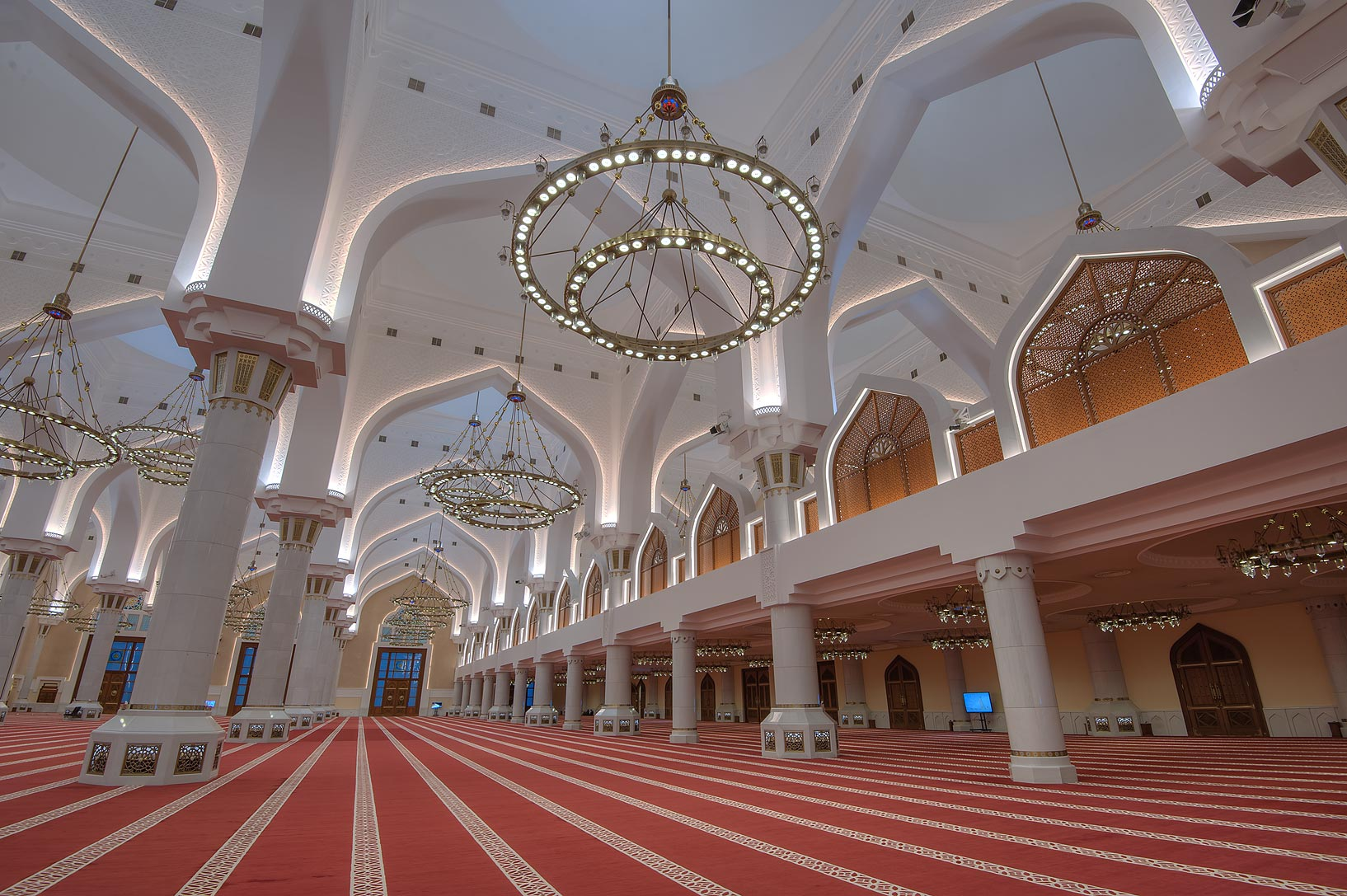 Interior of State Mosque (Sheikh Muhammad Ibn Abdul Wahhab Mosque) at morning. Doha, Qatar
