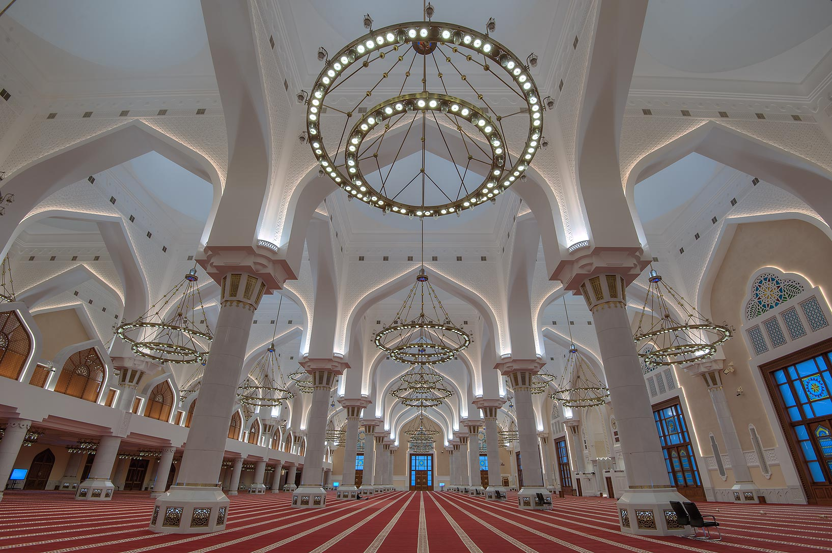 Vaults of prayer hall of State Mosque (Sheikh...Wahhab Mosque) at morning. Doha, Qatar