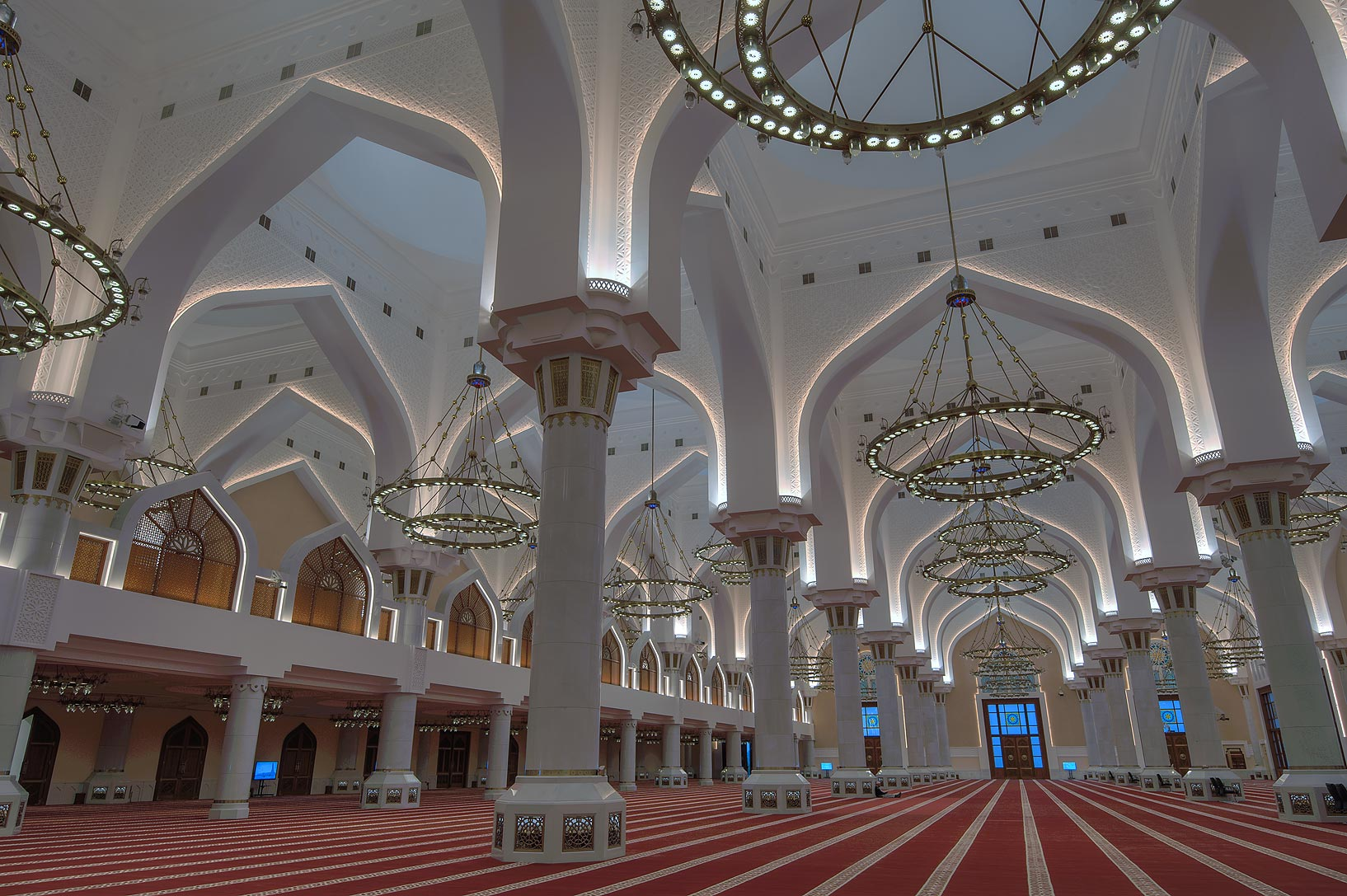Vaults and columns of prayer hall of State Mosque...Wahhab Mosque) at morning. Doha, Qatar