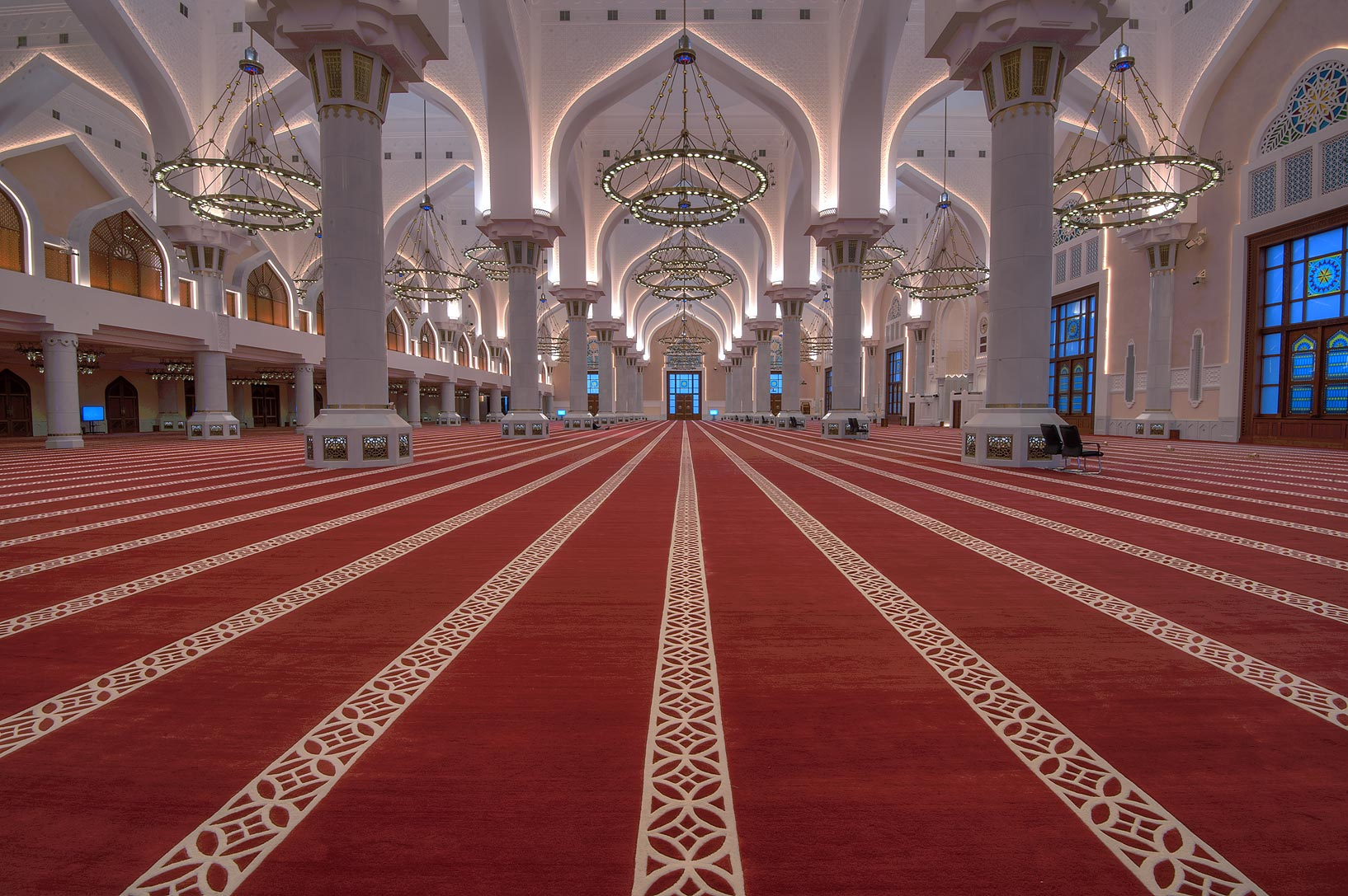 Red carpet of prayer hall of State Mosque (Sheikh...Wahhab Mosque) at morning. Doha, Qatar