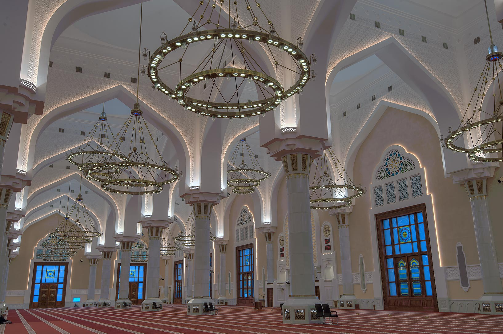 Galleries of prayer hall of State Mosque (Sheikh...Wahhab Mosque) at morning. Doha, Qatar