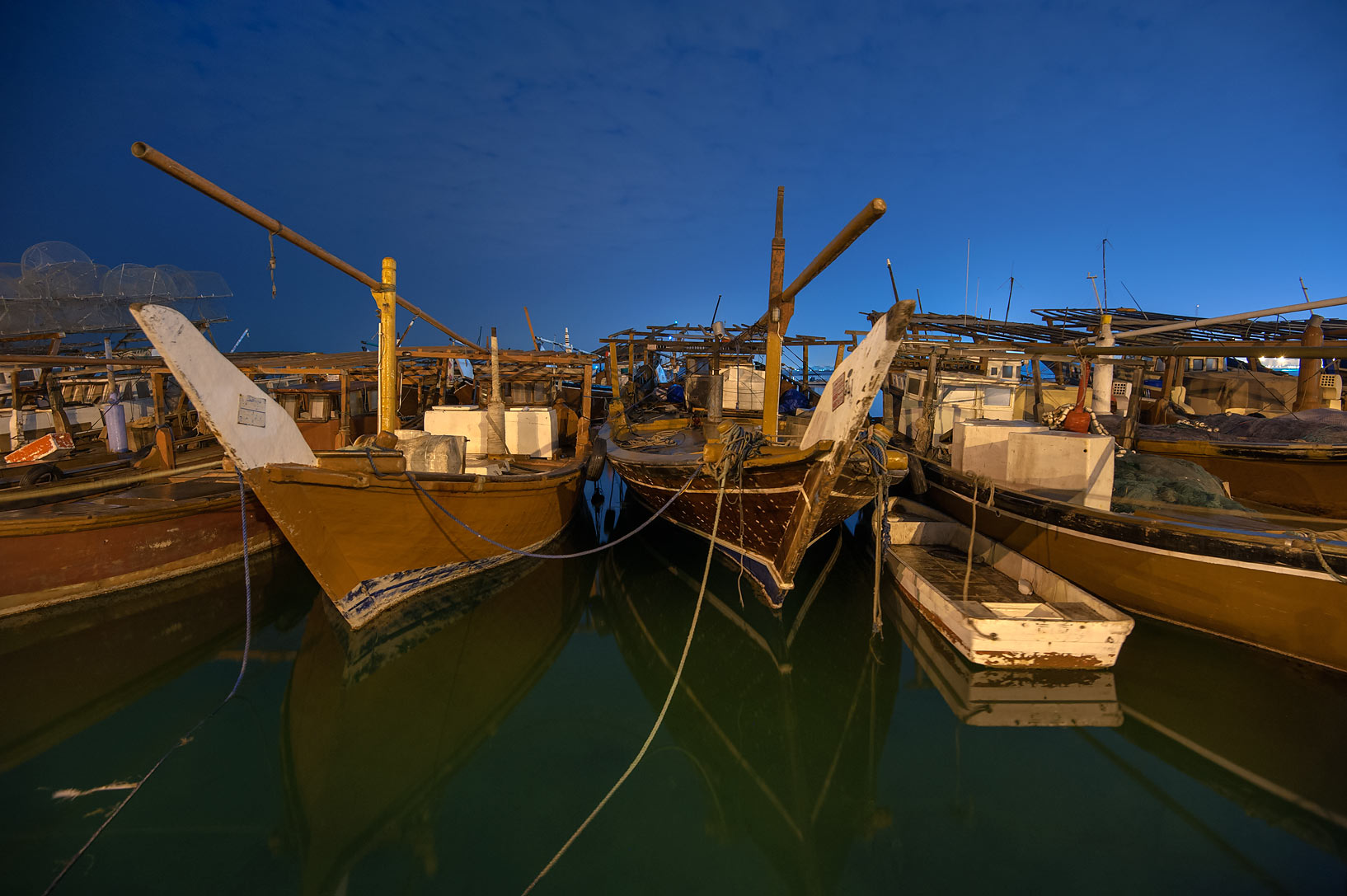 Dhow fishing boats at Al Wakra port at morning. Qatar