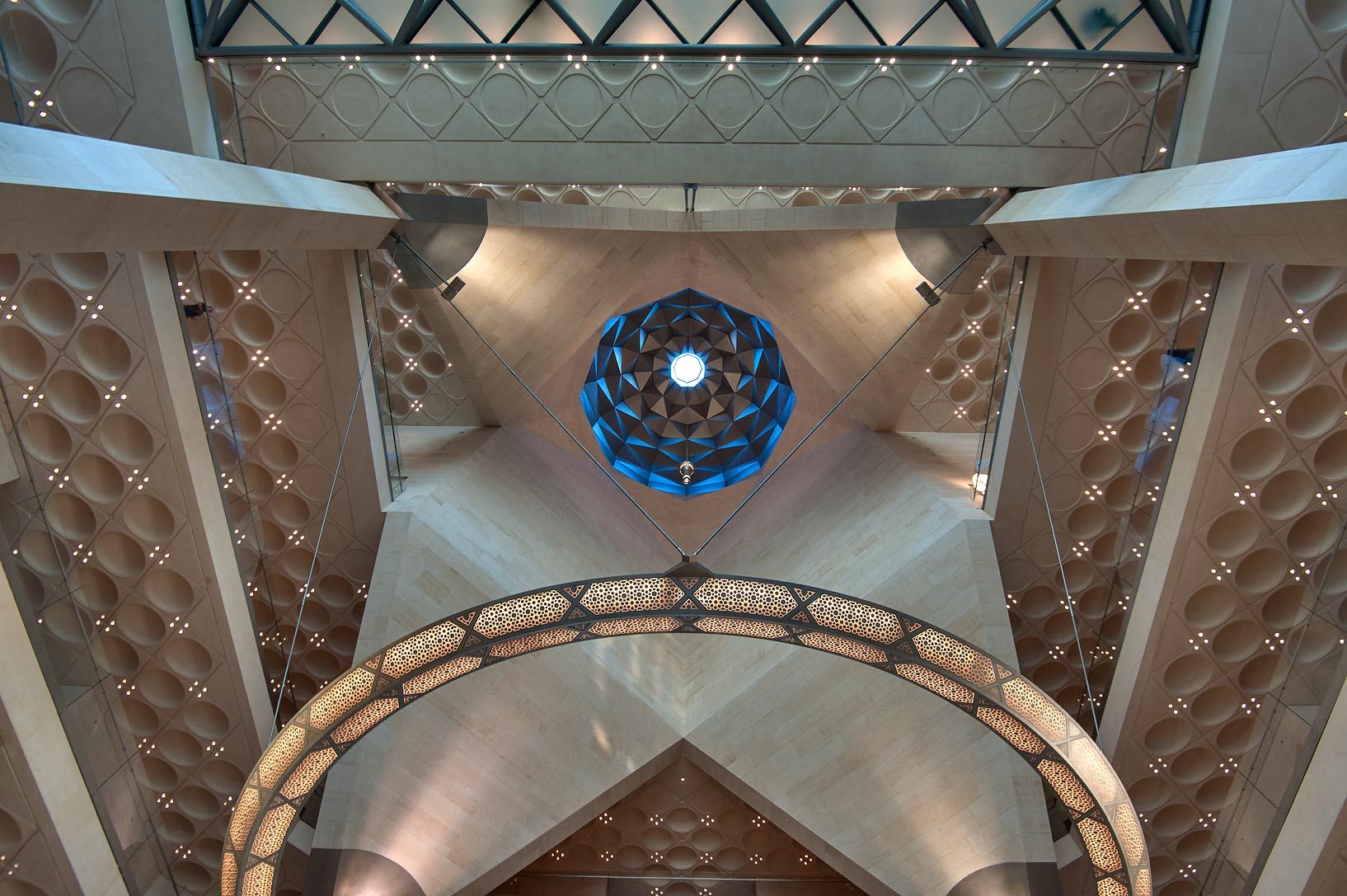 Domed ceiling of Museum of Islamic Art. Doha, Qatar