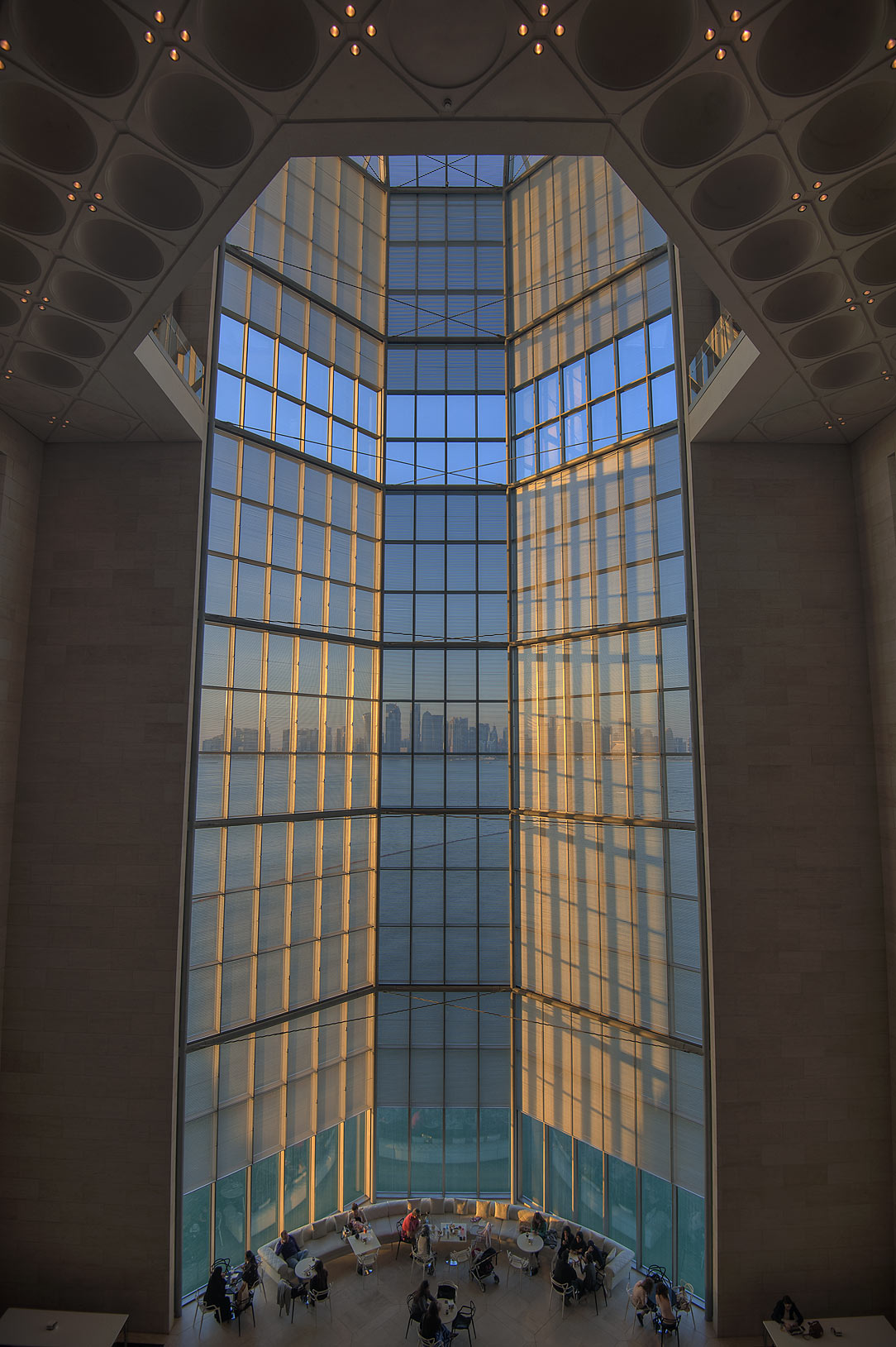 Grand window of Museum of Islamic Art, view from the second floor. Doha, Qatar