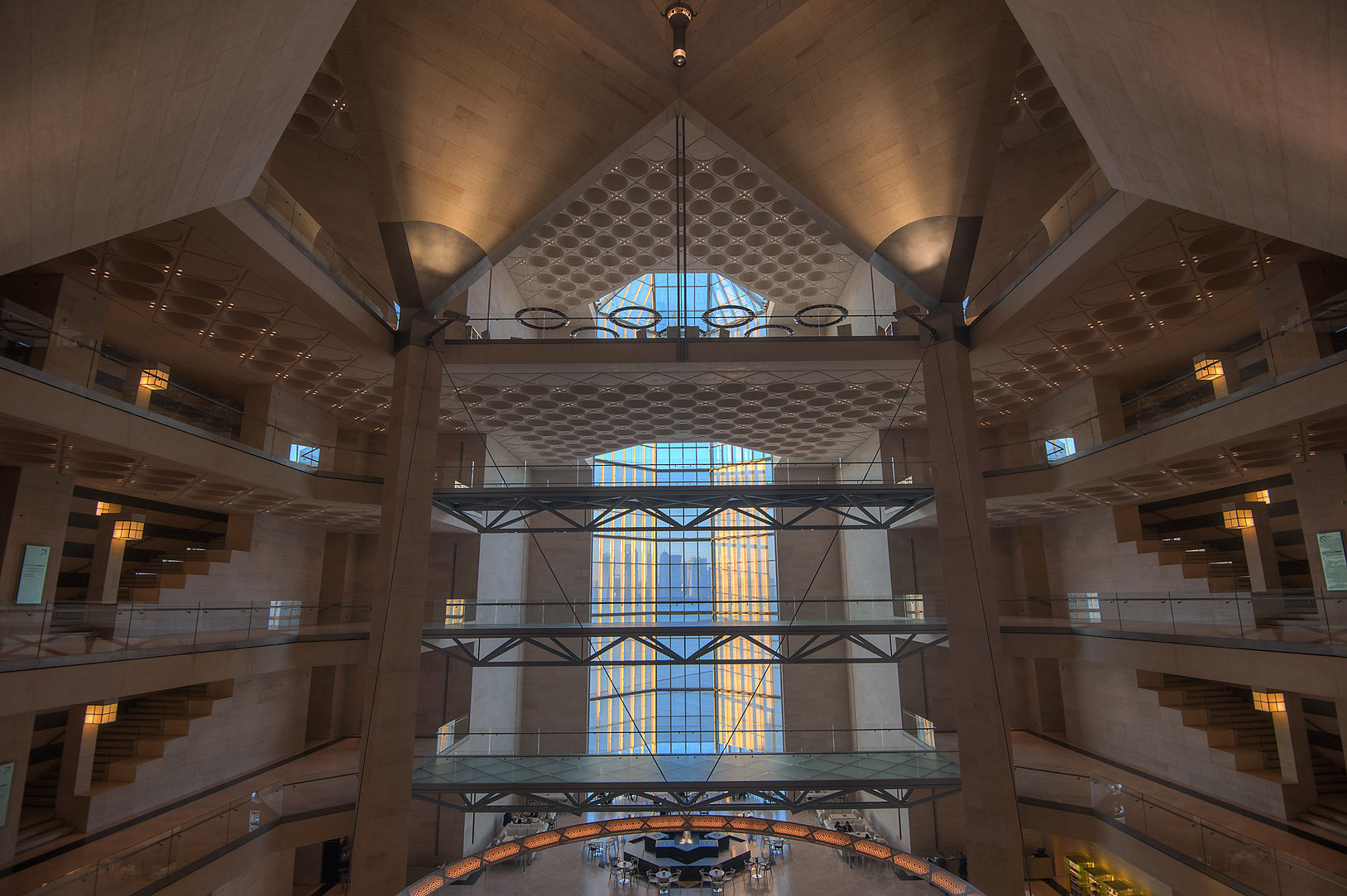 Atrium of Museum of Islamic Art, view from the second floor. Doha, Qatar