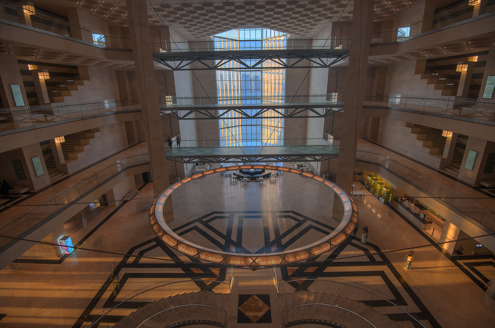 Grand hall of Museum of Islamic Art, view from the second floor. Doha, Qatar