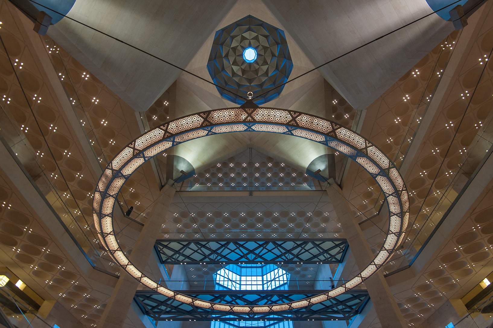 Perforated chandelier of Museum of Islamic Art at evening. Doha, Qatar