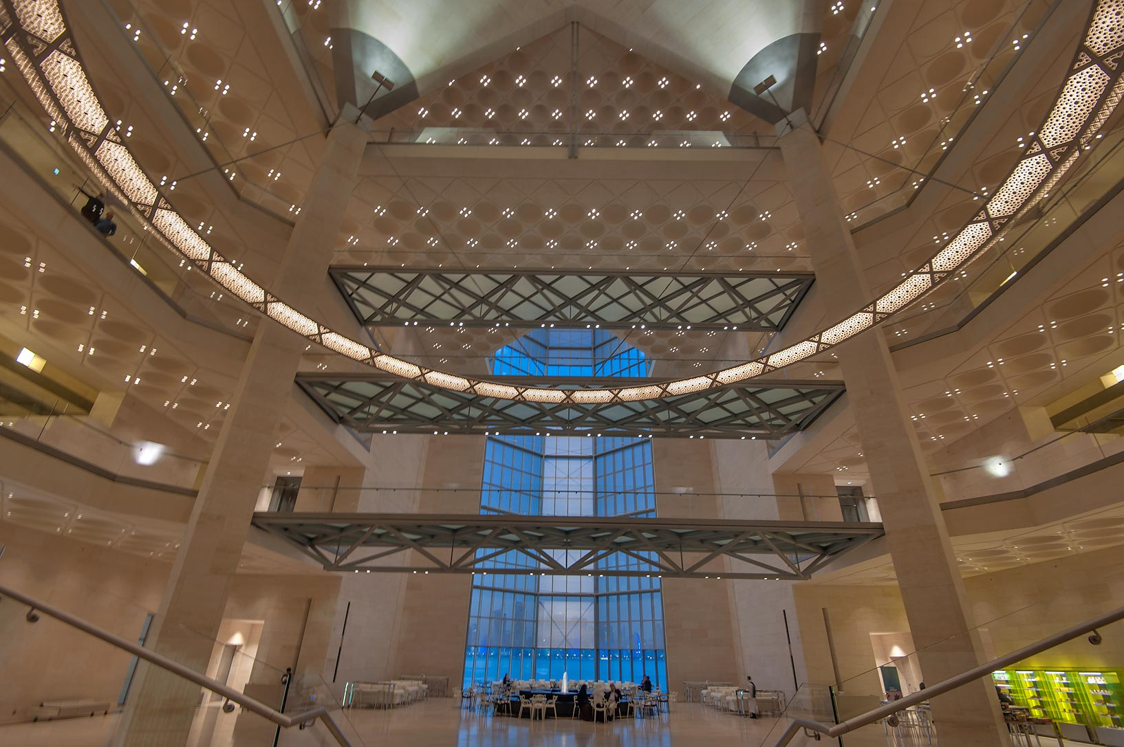 Grand window from ground floor of Museum of Islamic Art at evening. Doha, Qatar