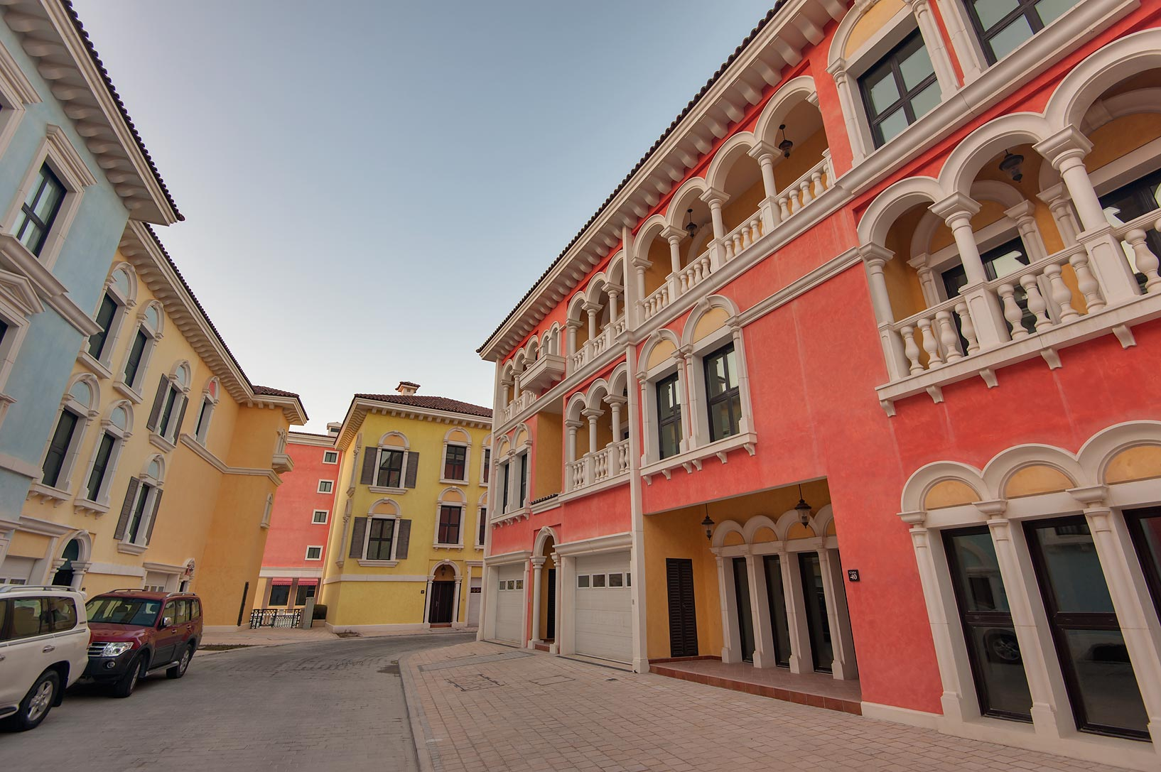 Red building in Qanat Quartier (Venetian style...Pearl Development Project, Doha, Qatar