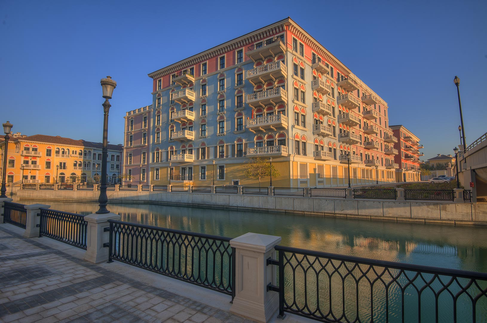 A canal and a house in Qanat Quartier (Venetian...Pearl Development Project, Doha, Qatar