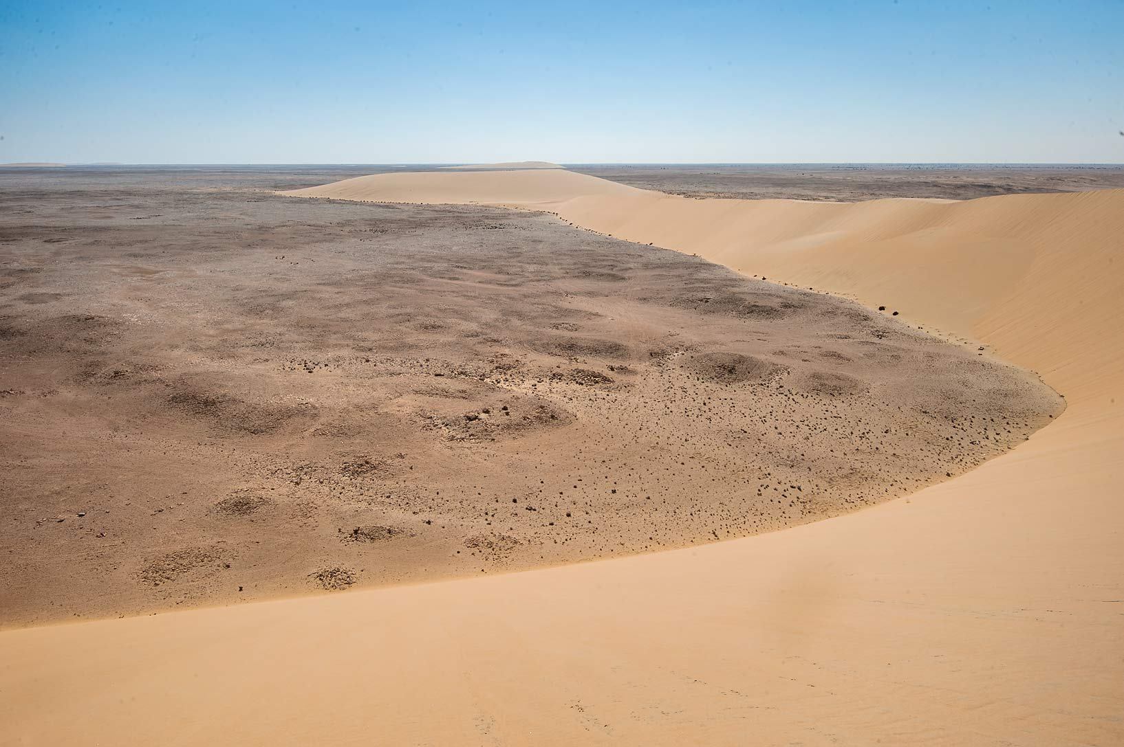 View from a crest of sand dune in Traina Sinkhole...west of Khor Al Adaid. Southern Qatar