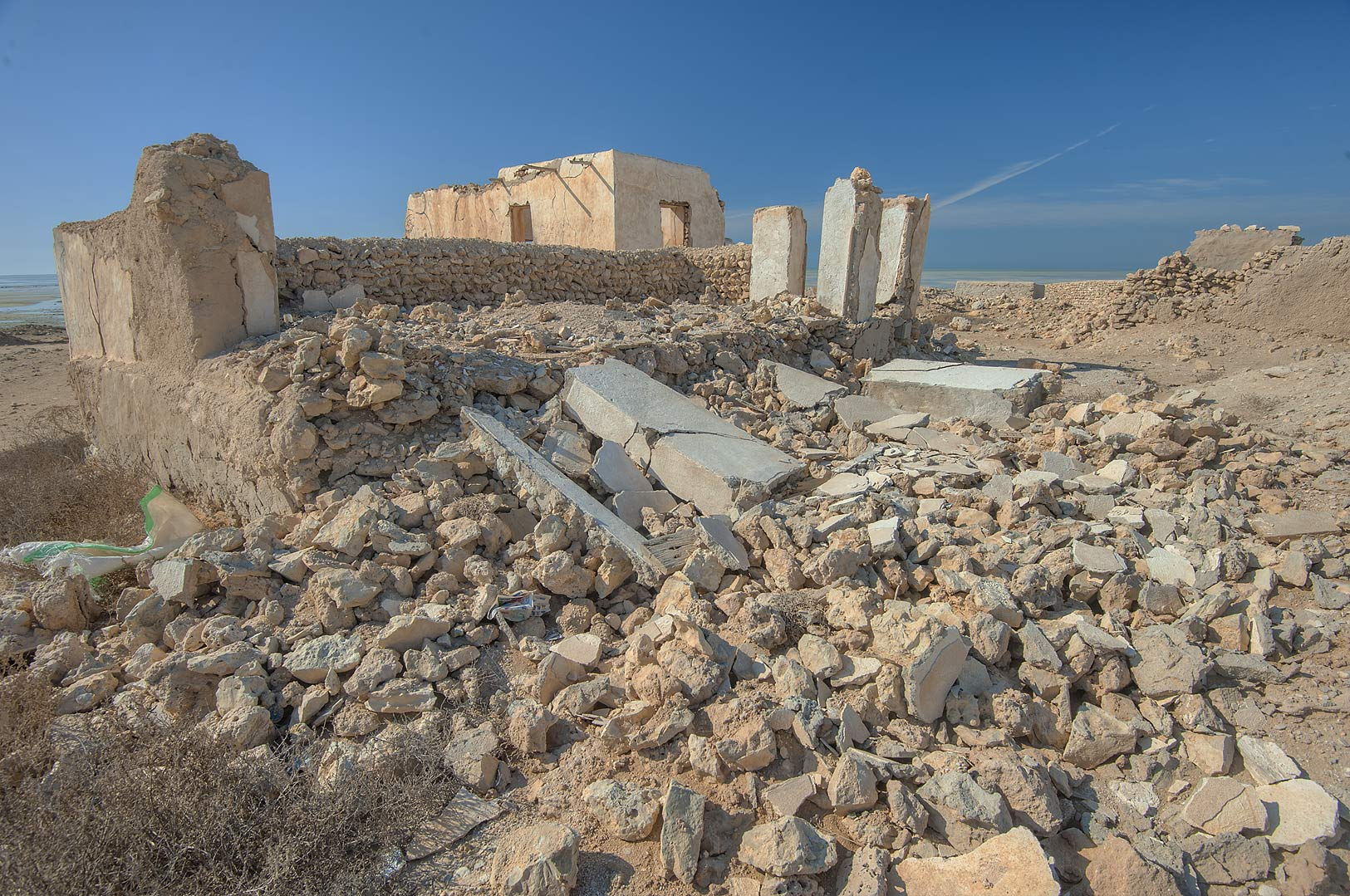 Stone ruins in a village of Al Jumail (Jumayl) west of Ruwais. Northern Qatar