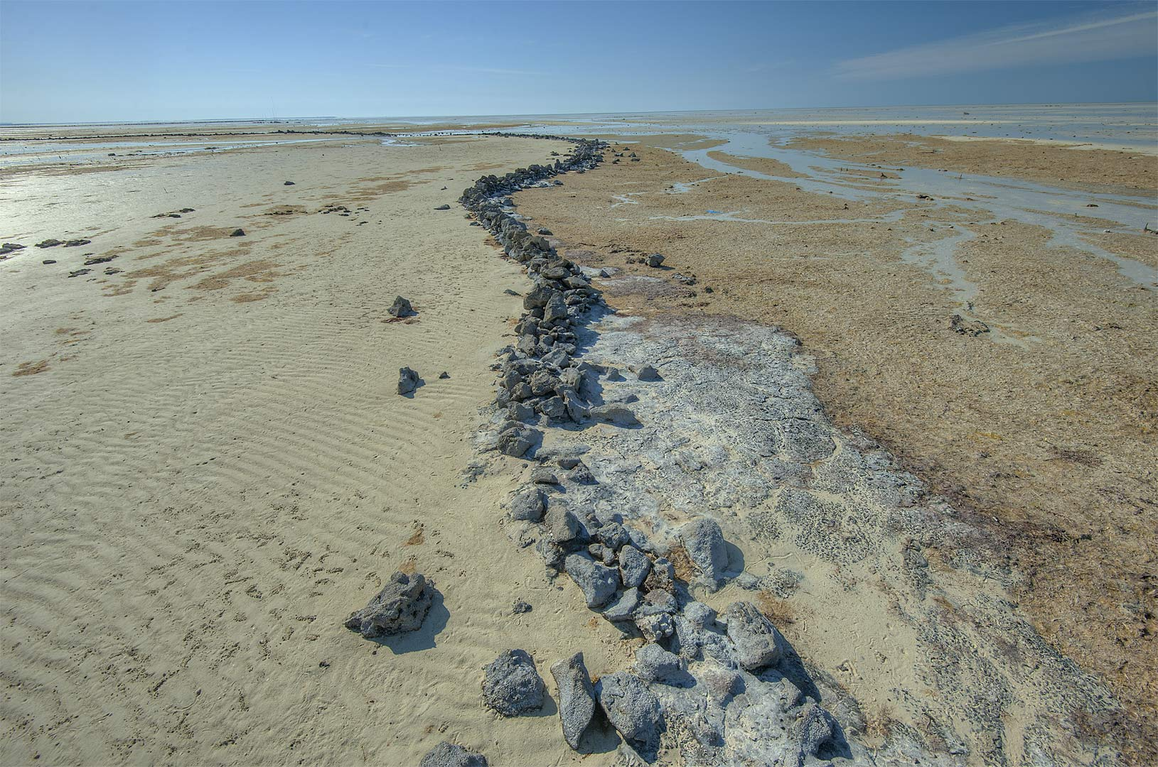 Intertidal stone fish traps near a village of Al...Jumayl) west of Ruwais. Northern Qatar