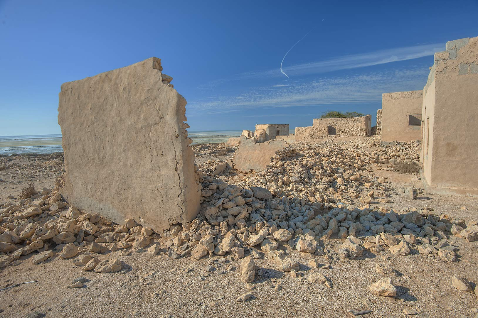 Stone ruins a village of Al Jumail (Jumayl) west of Ruwais. Northern Qatar