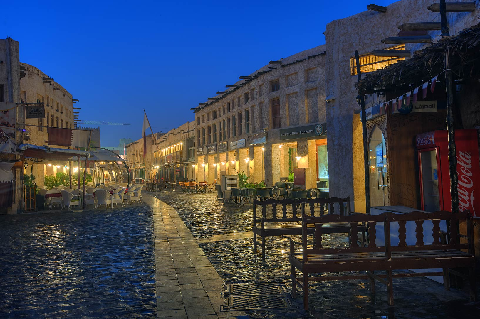 Cafes and shops in Souq Waqif (old market). Doha, Qatar