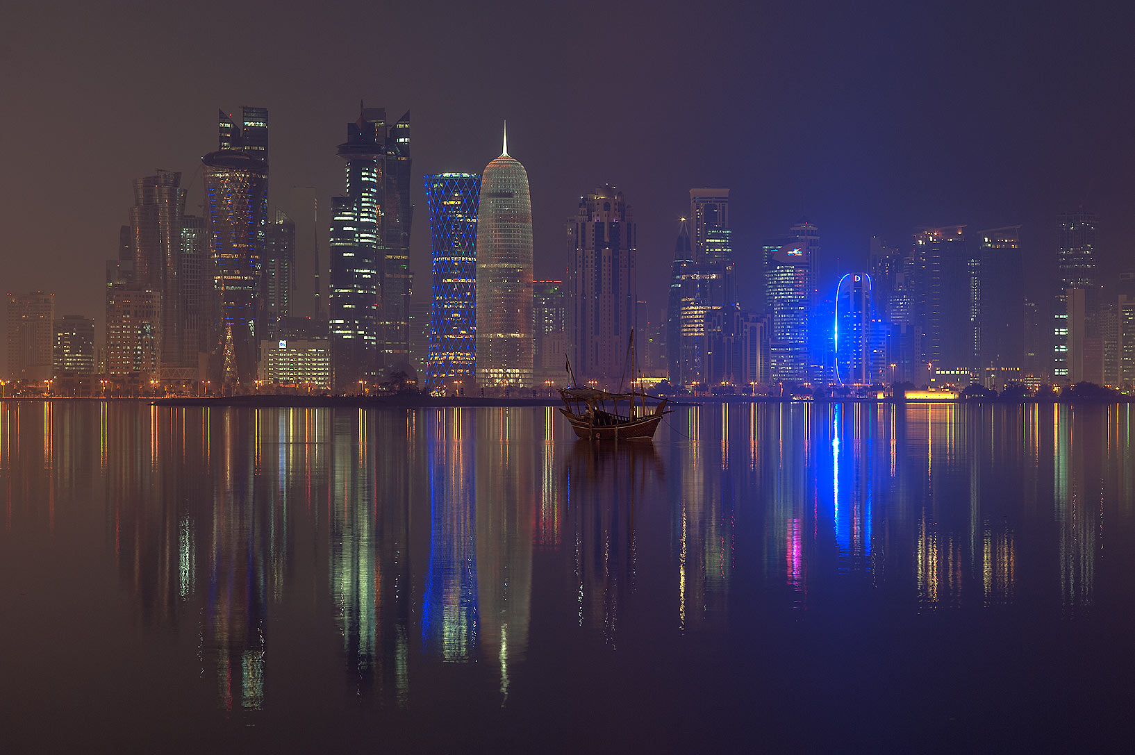 West Bay lights from Corniche promenade at quet morning. Doha, Qatar