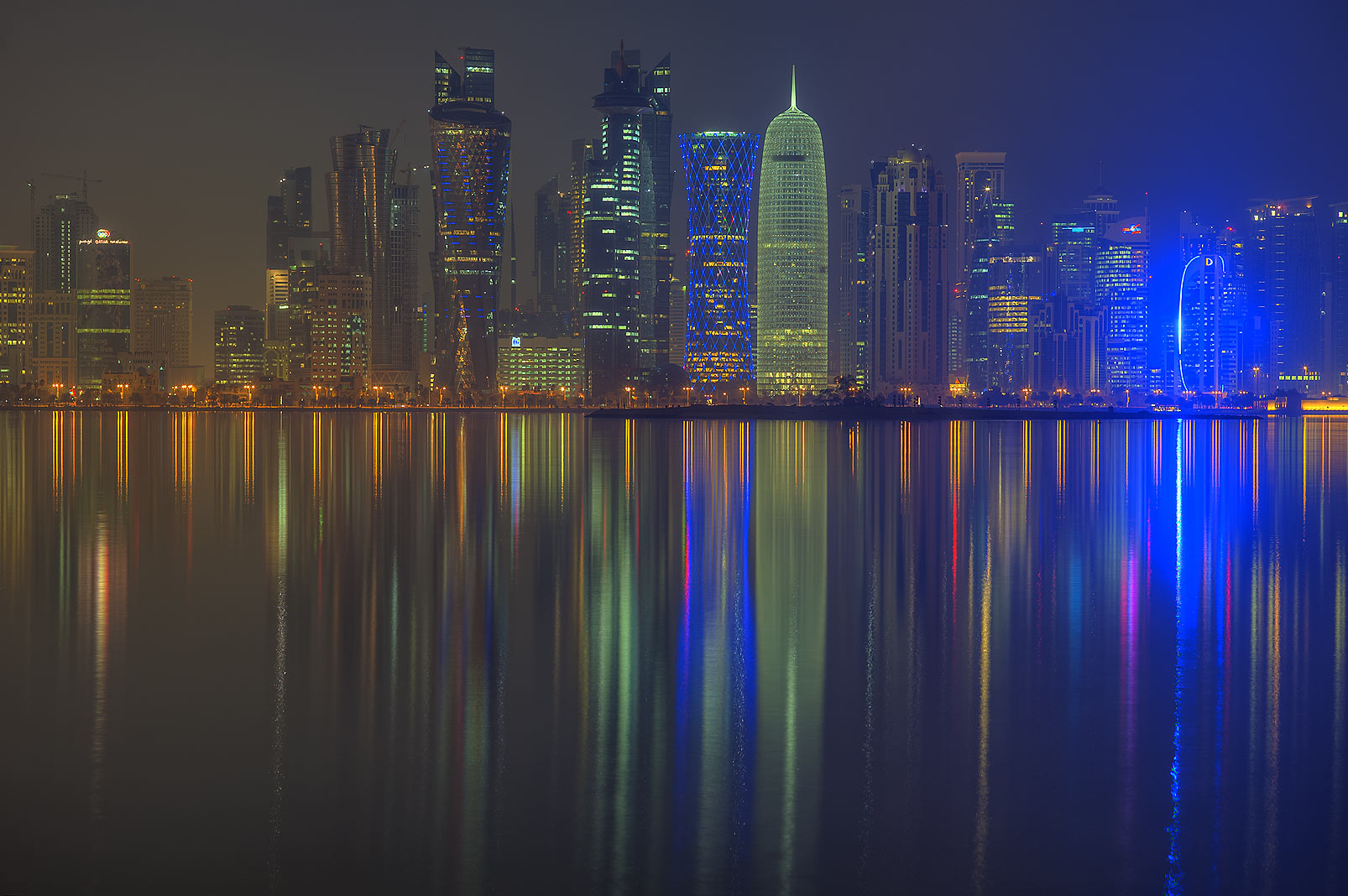 View of West Bay towers from Corniche promenade. Doha, Qatar
