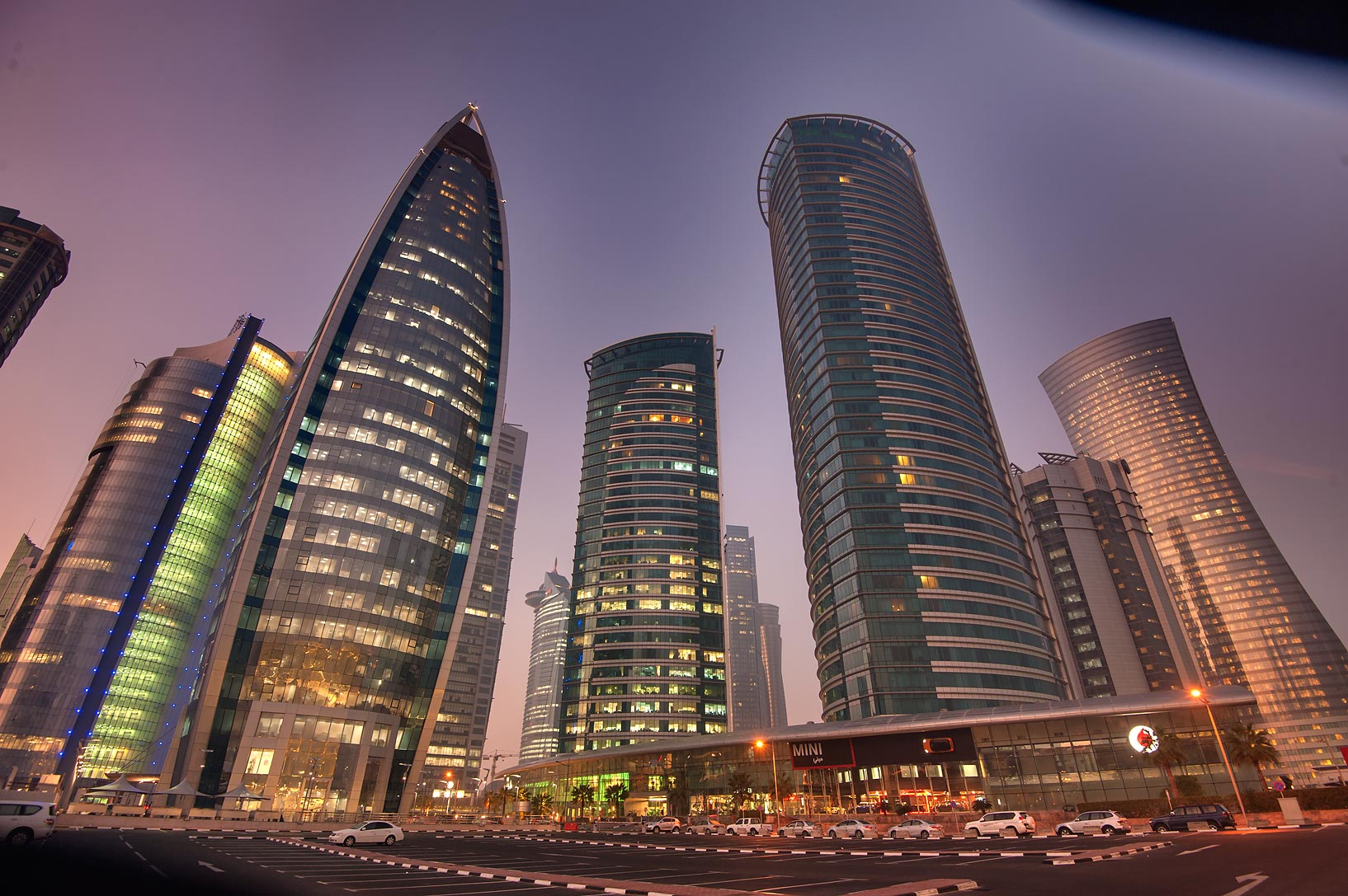 Woqod and Twin Al Fardan towers in West Bay. Doha, Qatar