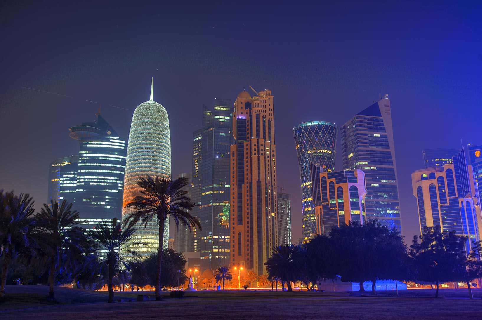 Towers of West Bay from Sheraton Park. Doha, Qatar