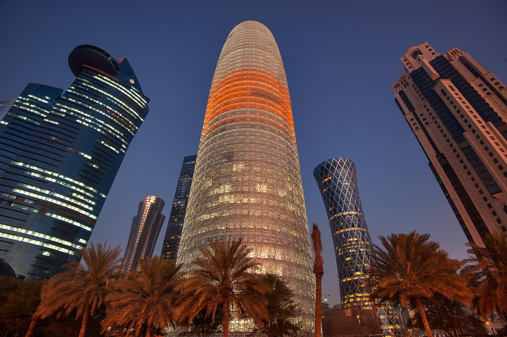 Tornado Tower in West Bay from Corniche promenade. Doha, Qatar