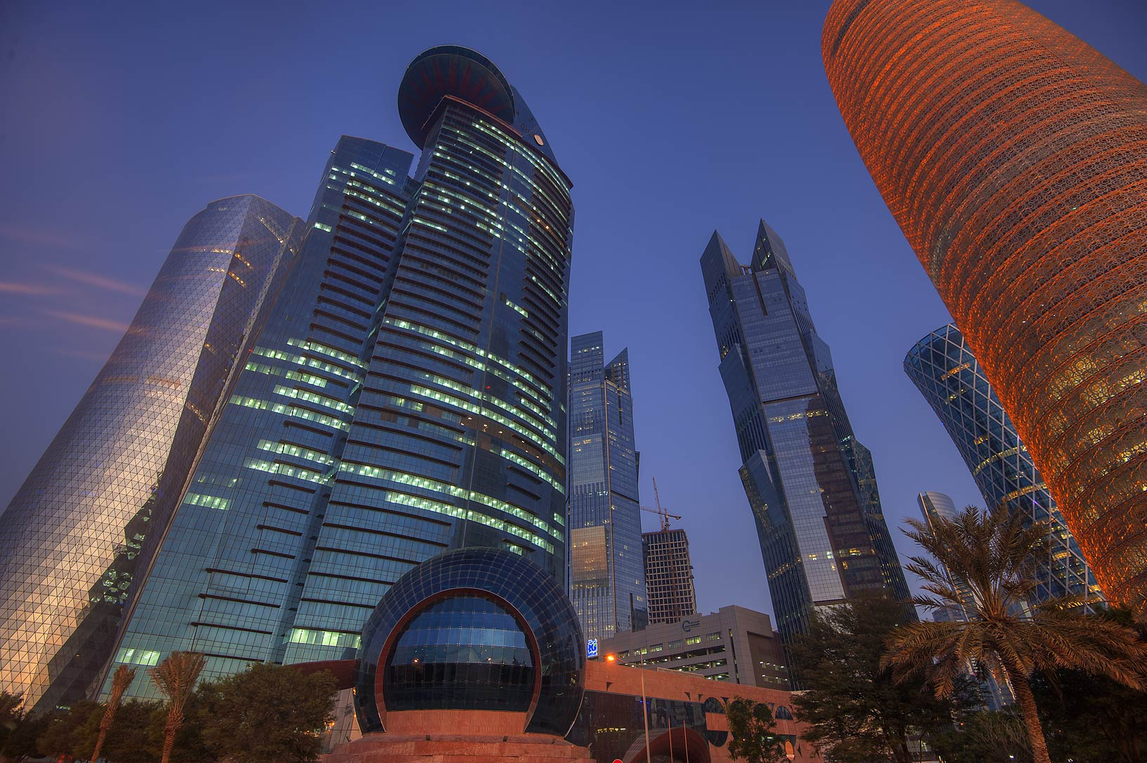 WTC and Palm towers in West Bay from Corniche promenade. Doha, Qatar