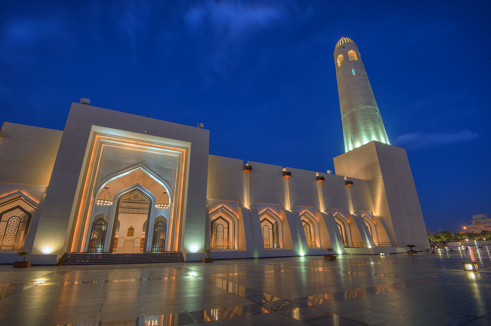 Gate of State Mosque (Sheikh Muhammad Ibn Abdul...Mosque) at morning dusk. Doha, Qatar