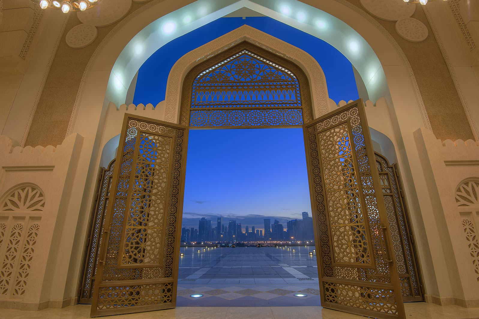 Women's gate of State Mosque (Sheikh Muhammad Ibn...Mosque) at morning dusk. Doha, Qatar
