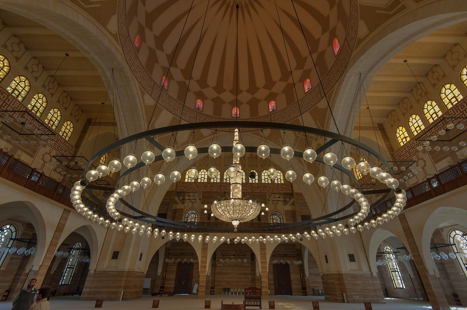 Central hall in Ahmed Al Fateh Mosque. Manama, Bahrain