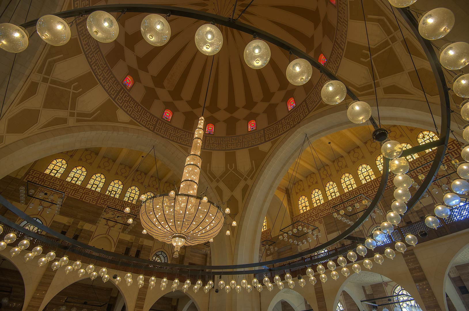 Lamps of Austrian chandelier in Ahmed Al Fateh Mosque. Manama, Bahrain