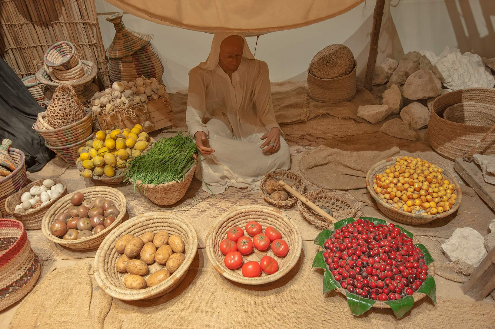 Exhibition of traditional food in Bahrain National Museum. Manama, Bahrain