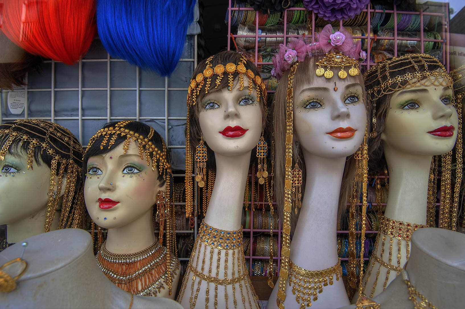 Female mannequins on display in a jewelry shop in Central Manama. Bahrain