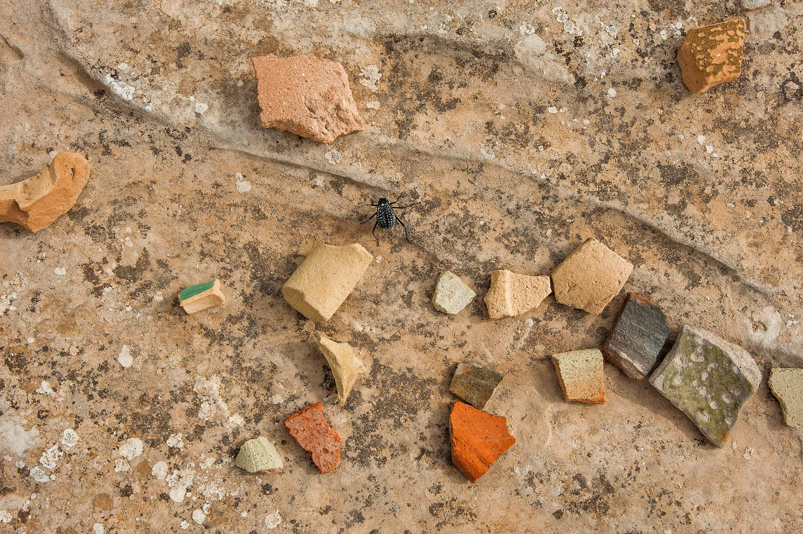 Broken bits of pottery on a rocky ridge in Jabal...site, on north-eastern coast. Qatar