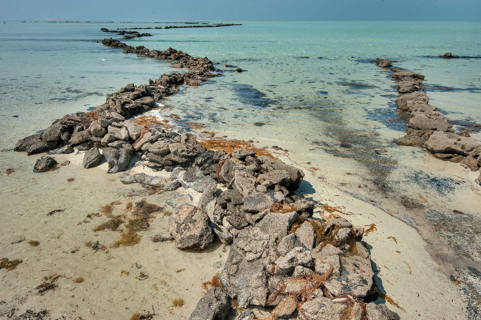 Intertidal stone fish traps in Fraiha near Palace...Al-Abdullah Al-Thani. Northern Qatar