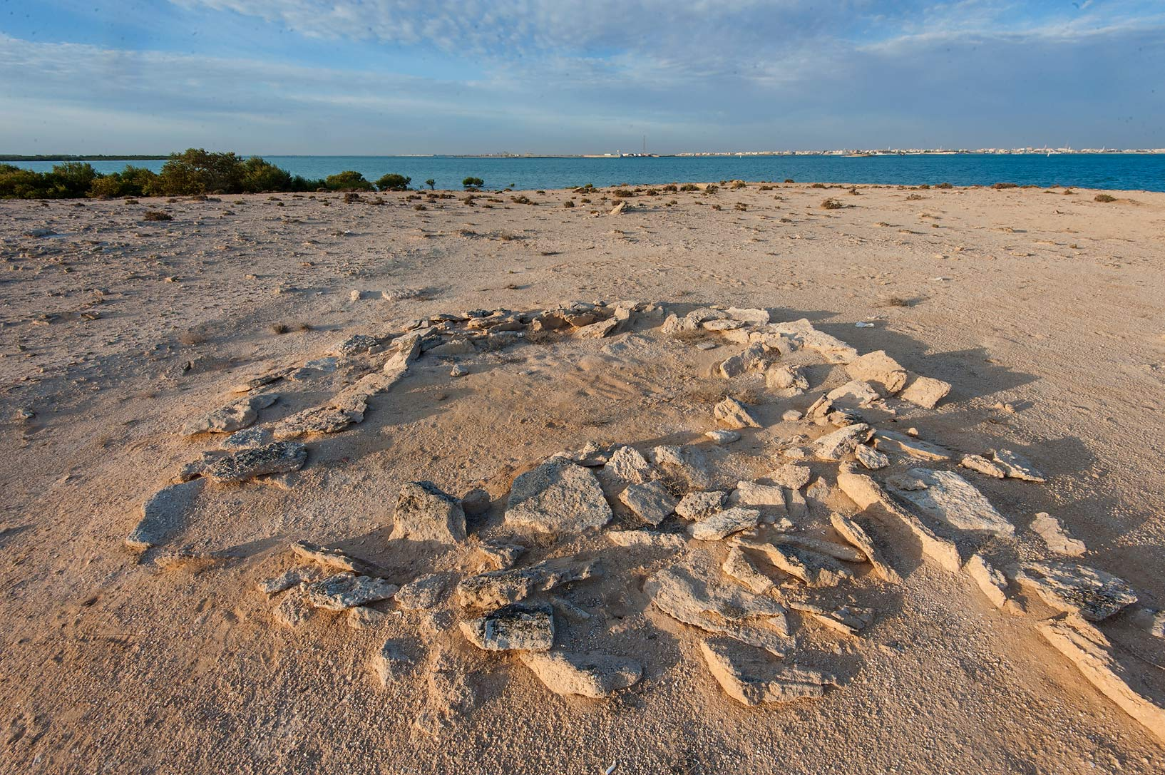 Ancient stone ruins in Purple Island (Jazirat Bin Ghanim). Al Khor, Qatar